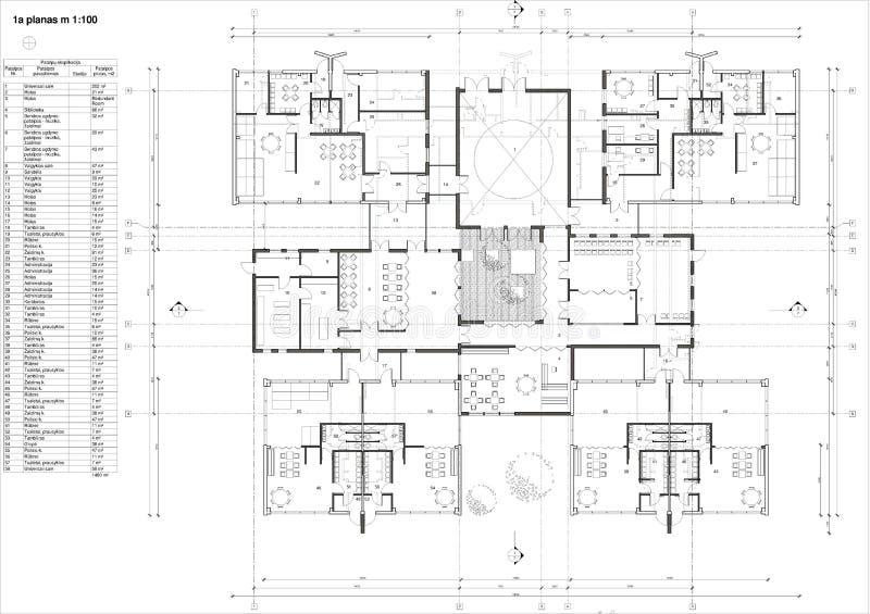 Floor plan of the kindergarten. Drawing: 1st floor plan of the kindergarten royalty free illustration
