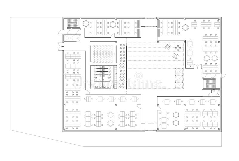 floor plan of the office. Download Floor Plan Of The Office Building Stock Illustration - Modern, Space: O