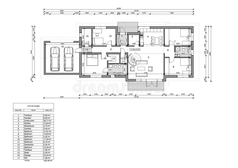 Floor plan of the single family house. Drawing: floor plan of the single family house vector illustration