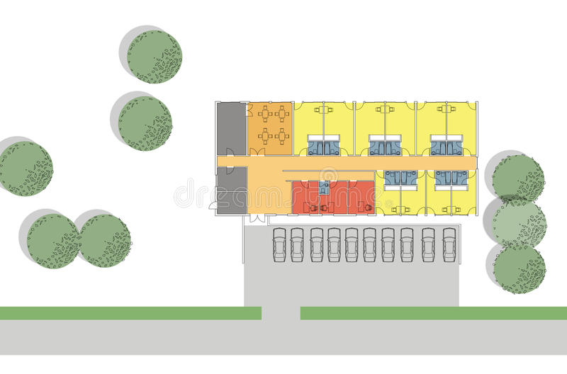 Floor plan of the small hotel stock illustration for Small hotel design plans