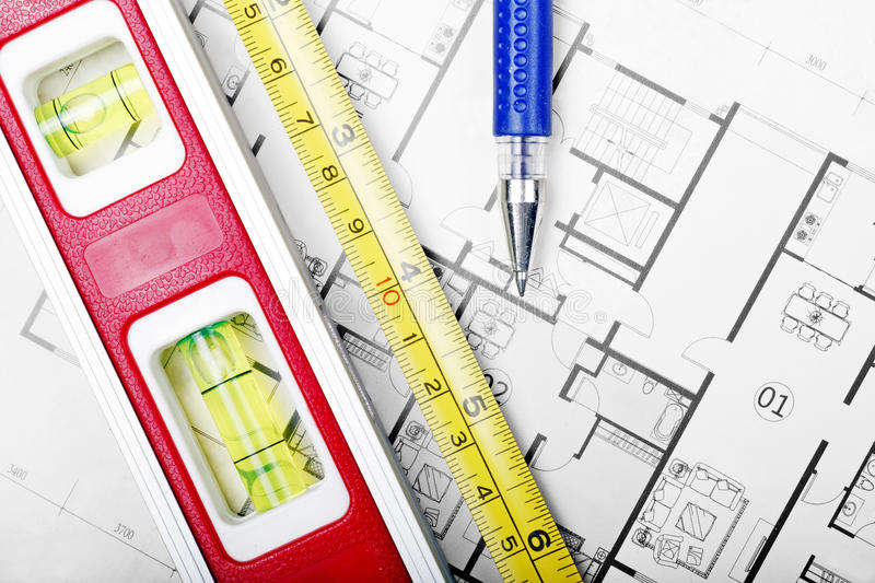 Floor plan and tools stock image