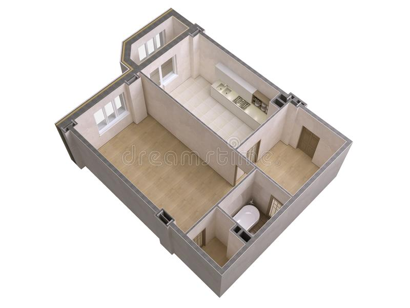 Floor plan top view. Apartment interior isolated on white background. 3D render royalty free illustration