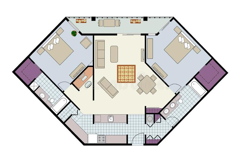 Download Floor Plan Of Two-bed Condo With Den, Furniture Stock Vector - Image: 17377533