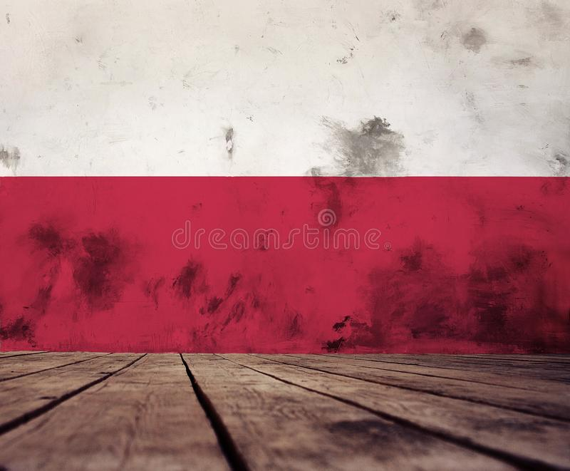 Poland flag texture. The floor of planks and plastered wall with a painted Poland flag royalty free illustration