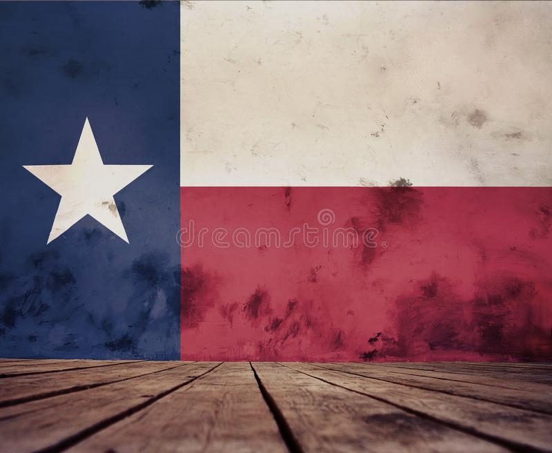 Texture of Texas flag. The floor of planks and plastered wall with a painted Texas flag royalty free illustration