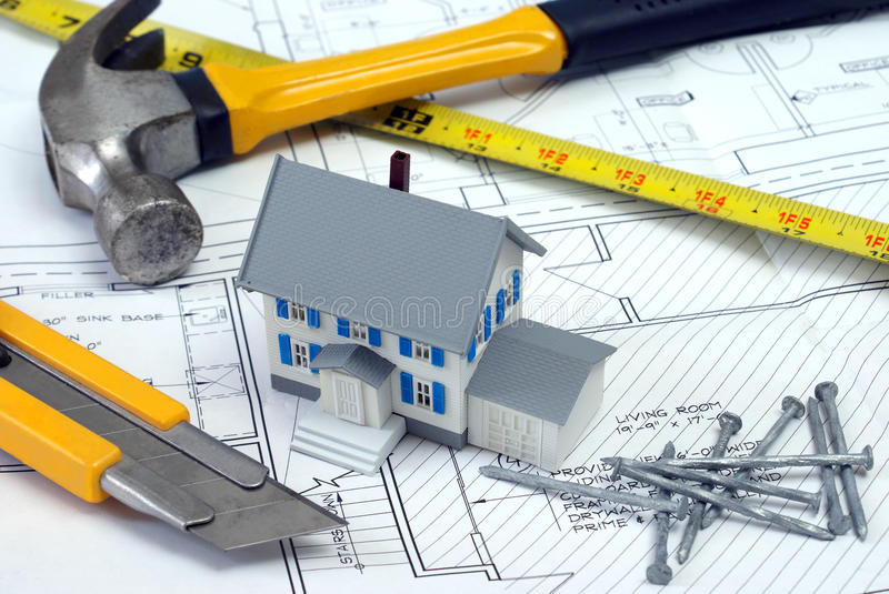 Floor Plans to New Home royalty free stock image