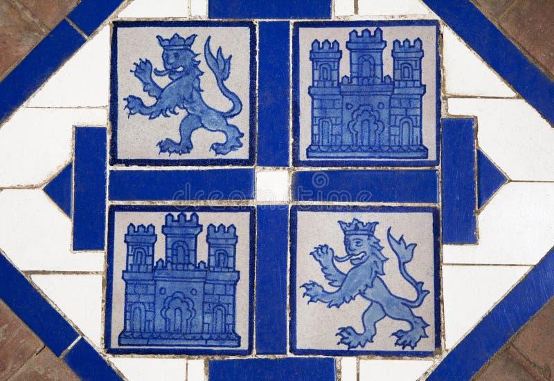 Floor tile with heraldic symbols of Spain. Floor tile with heraldic symbols of Leon and Castile, Spain stock photos