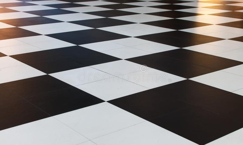 Big black and white checkered pattern tiles. royalty free stock photography