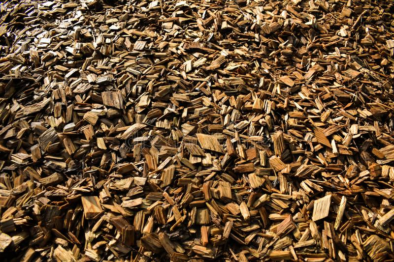 Wood Chips Flakes Chunks Pieces Brown Gold Sunshine Decoration P. A floor of wooden flakes in a playground which can be used as a cool background stock image
