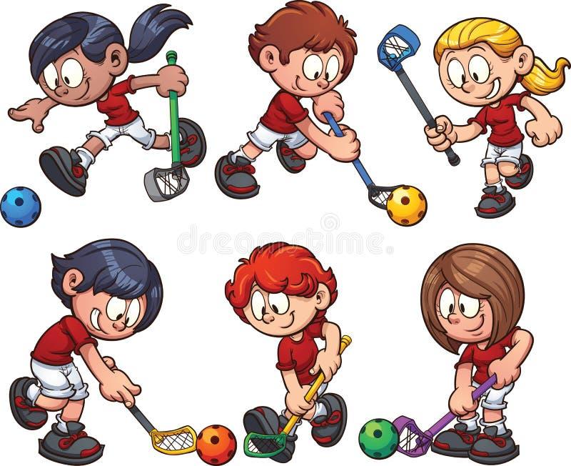 Floorball dzieciaki royalty ilustracja