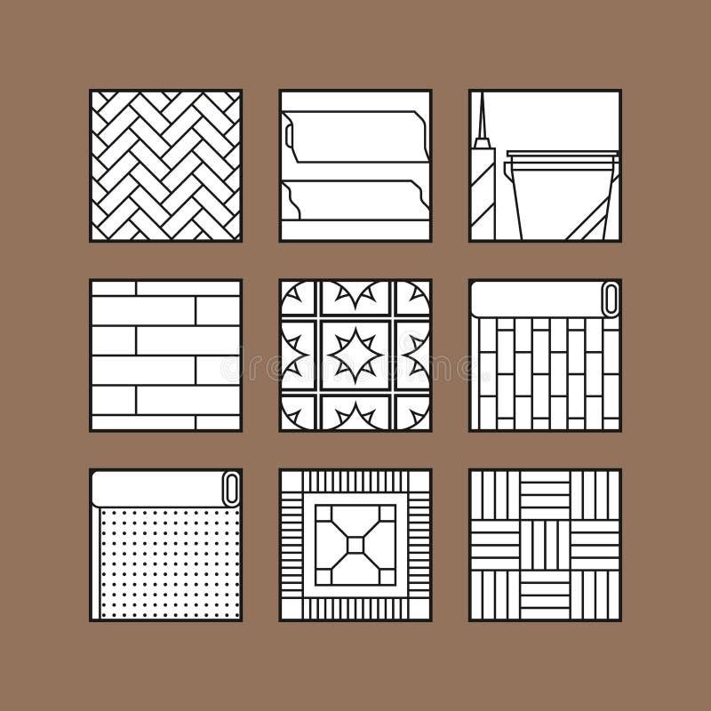flooring Ícones lisos da estratificação, do parquet, dos tapetes e dos outros materiais ilustração royalty free