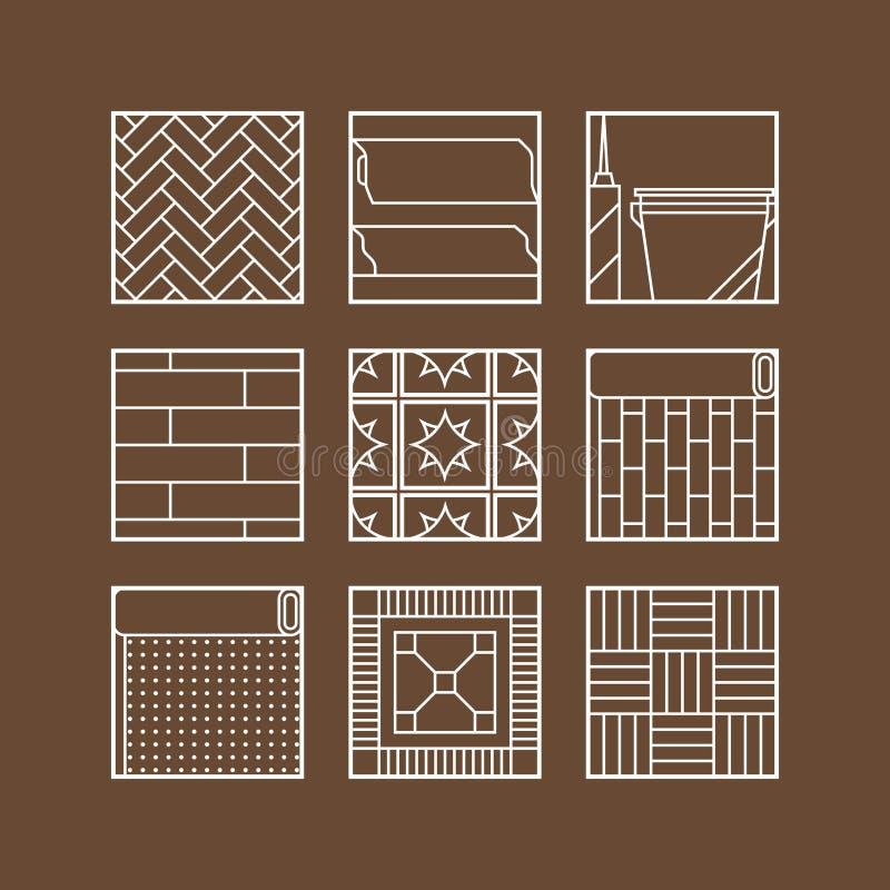 flooring Ícones lisos da estratificação, do parquet, dos tapetes e dos outros materiais ilustração stock