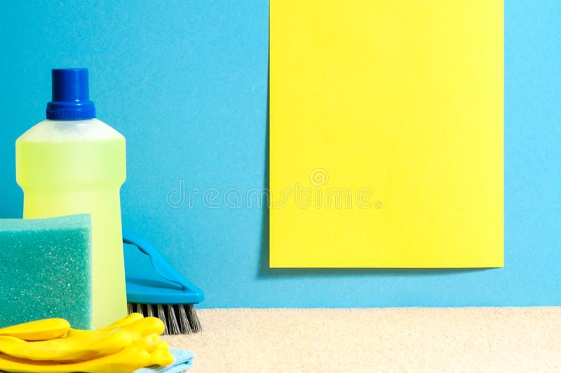Flooring cleaning set spring checklist mockup royalty free stock photography