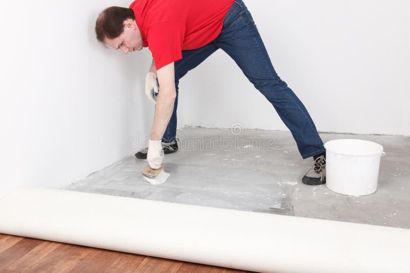 Flooring installation royalty free stock image