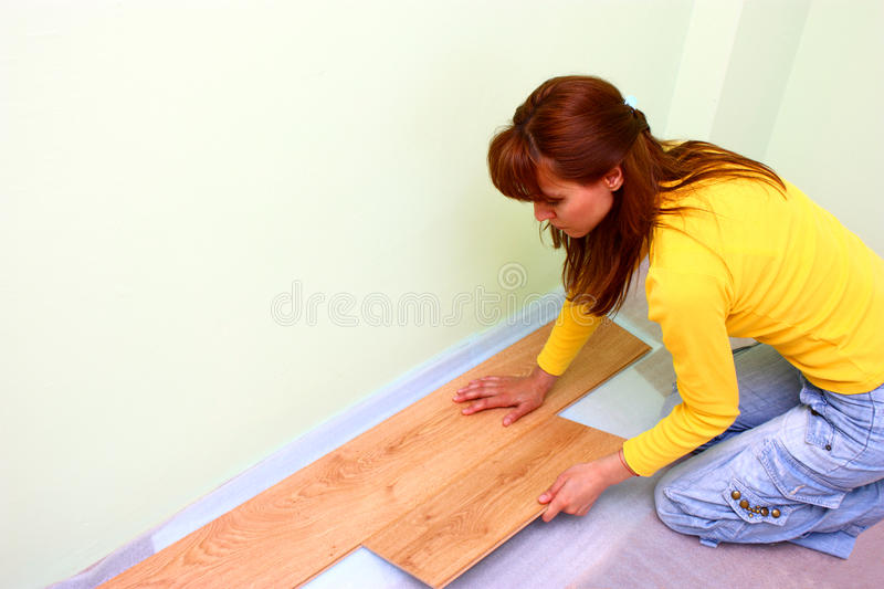 Flooring with laminated board stock photo