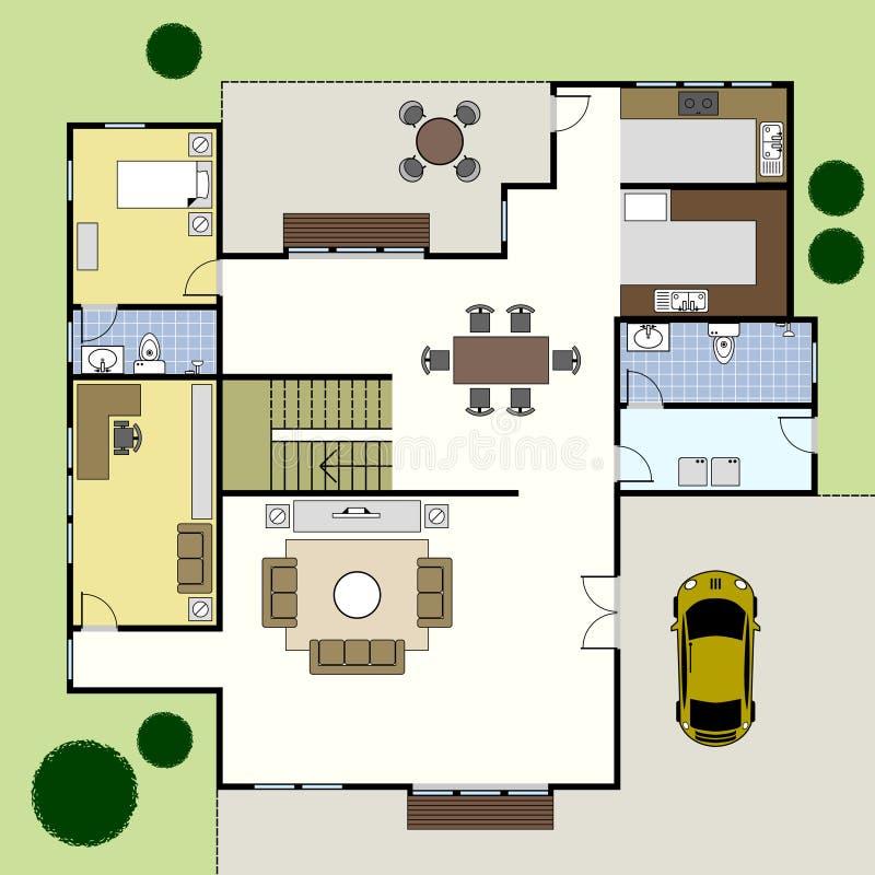 Floorplan Architektur-Plan-Haus lizenzfreie abbildung