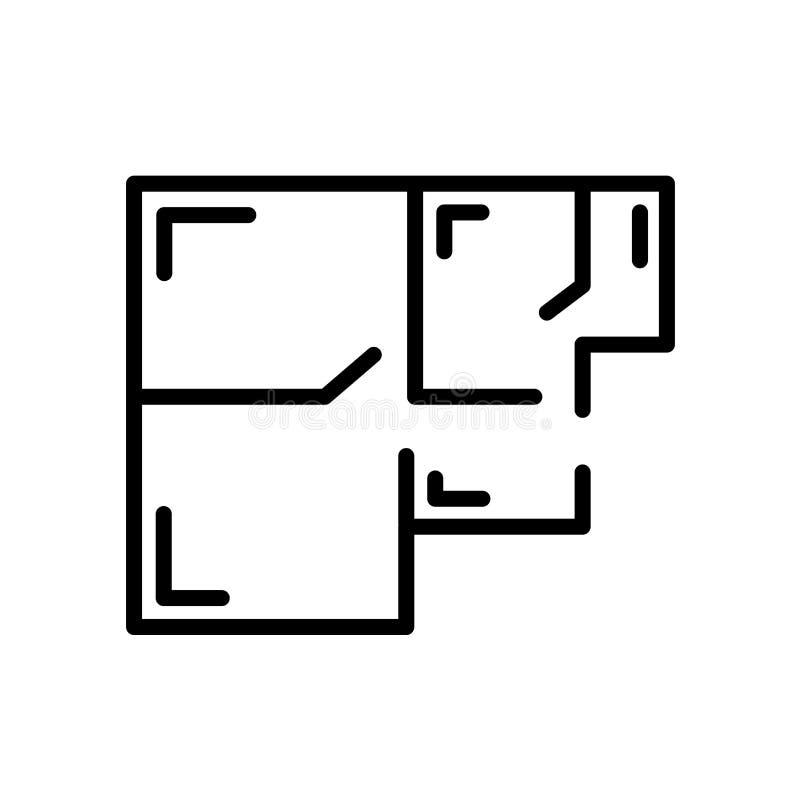 floorplan ikona odizolowywająca na białym tle royalty ilustracja