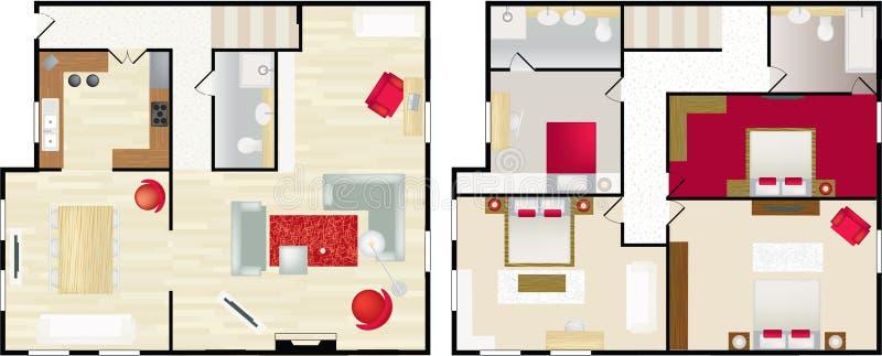 Floorplan típico da casa de s ilustração royalty free