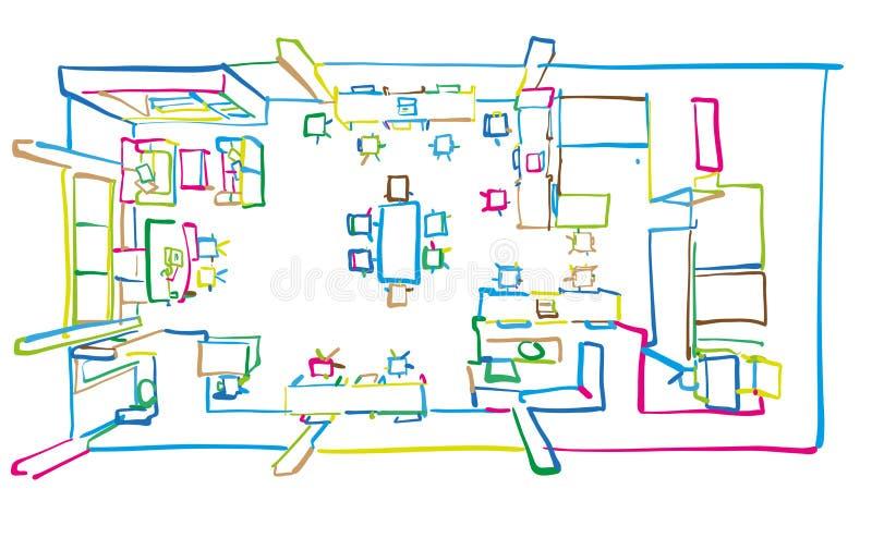 Floorplan zeichnende Draufsicht des Büros lizenzfreie abbildung