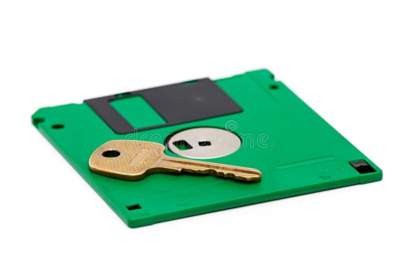 Floppy-Disc und Taste lizenzfreie stockfotos