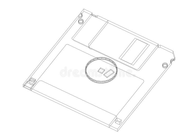 Floppy disk Architect blueprint - isolated stock illustration