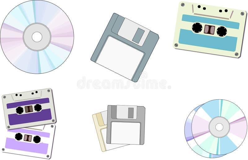 Floppy disk, CD, cassetta fotografia stock libera da diritti