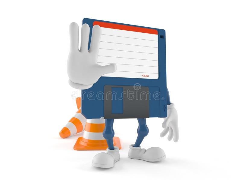 Floppy disk character with stop gesture stock illustration
