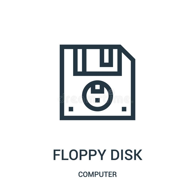 floppy disk icon vector from computer collection. Thin line floppy disk outline icon vector illustration royalty free illustration
