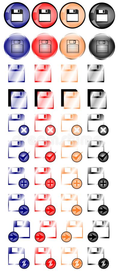 Floppy disk icons. Image repesenting a set of colorful isolated floppy disks icons vector illustration