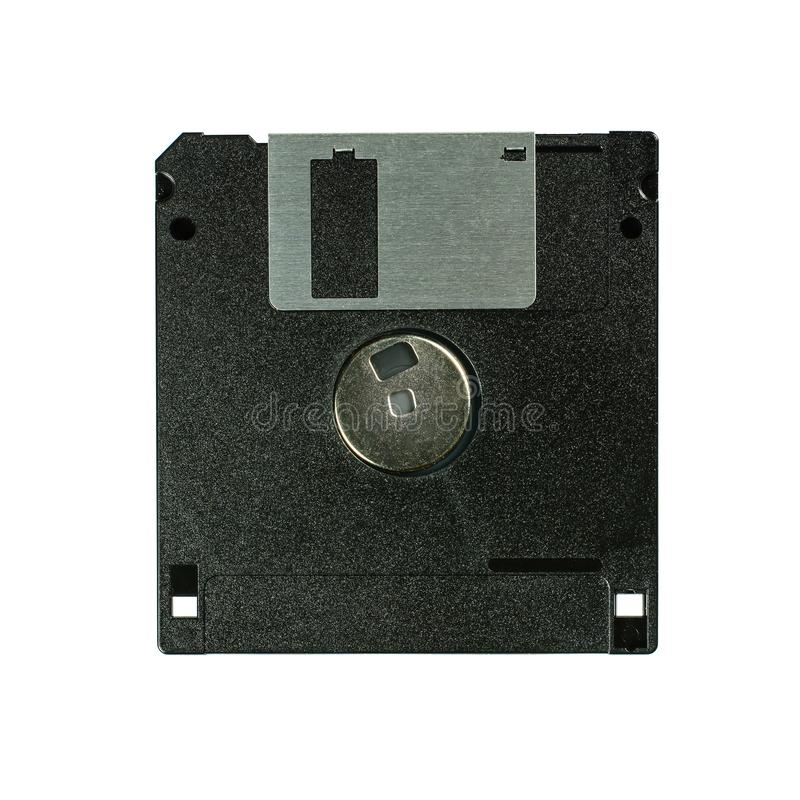 Floppy disk 3 A 5 pollici isolato su backround bianco Dischetto di computer d'annata Macro primo piano di vista posteriore superi fotografia stock