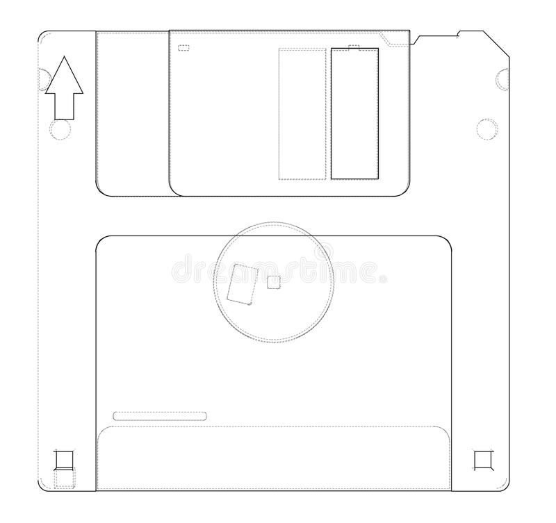 Floppy disk storage sketch. Vector royalty free illustration