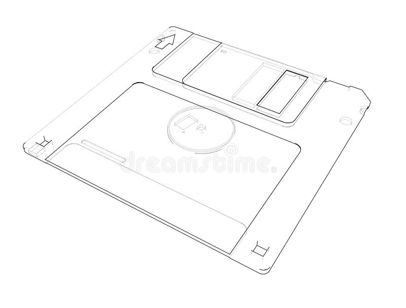 Floppy disk storage sketch. Vector vector illustration