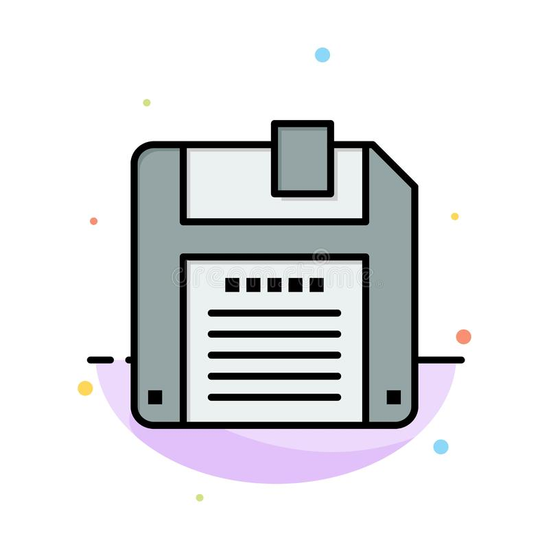 Floppy, Diskette, Save Abstract Flat Color Icon Template vector illustration