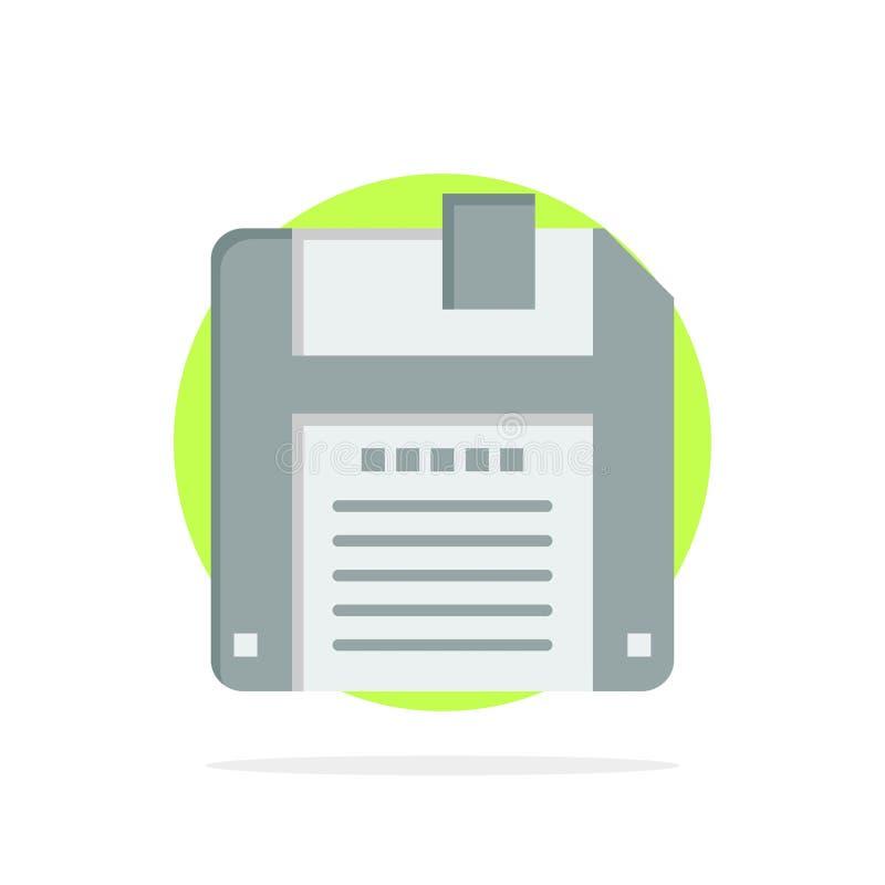 Floppy, Diskette, sparen Abstract Cirkel Achtergrond Vlak kleurenpictogram vector illustratie