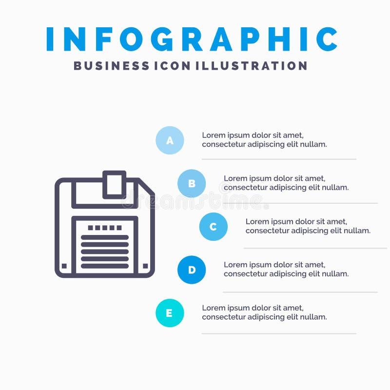 Floppy, Diskette, sparen Blauw Infographics-Malplaatje 5 Stappen Het vectormalplaatje van het lijnpictogram stock illustratie