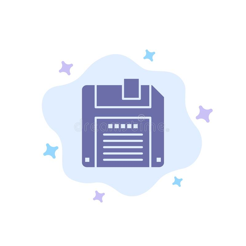 Floppy, Diskette, sparen Blauw Pictogram op Abstracte Wolkenachtergrond vector illustratie
