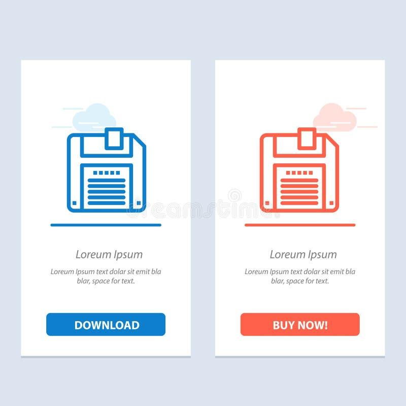 Floppy, Diskette, sparen Blauwe en Rode Download en koopt nu de Kaartmalplaatje van Webwidget royalty-vrije illustratie