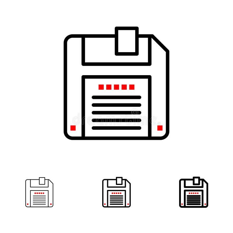Floppy, Diskette, sparen de Gewaagde en dunne zwarte reeks van het lijnpictogram vector illustratie