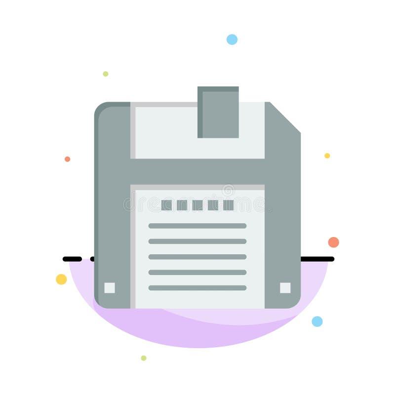 Floppy, Diskette, sparen het Abstracte Vlakke Malplaatje van het Kleurenpictogram royalty-vrije illustratie