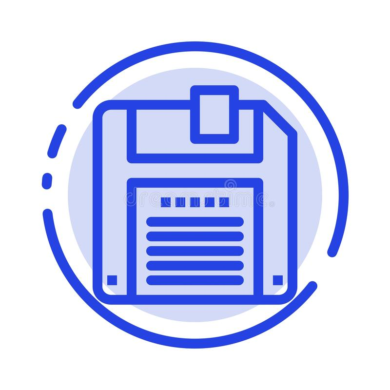 Floppy, Diskette, sparen het Blauwe Pictogram van de Gestippelde Lijnlijn royalty-vrije illustratie