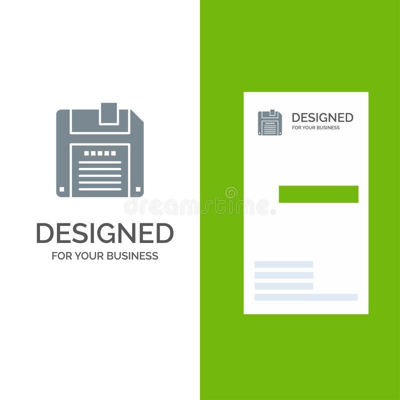 Floppy, Diskette, sparen het Malplaatje van Grey Logo Design en van het Visitekaartje royalty-vrije illustratie
