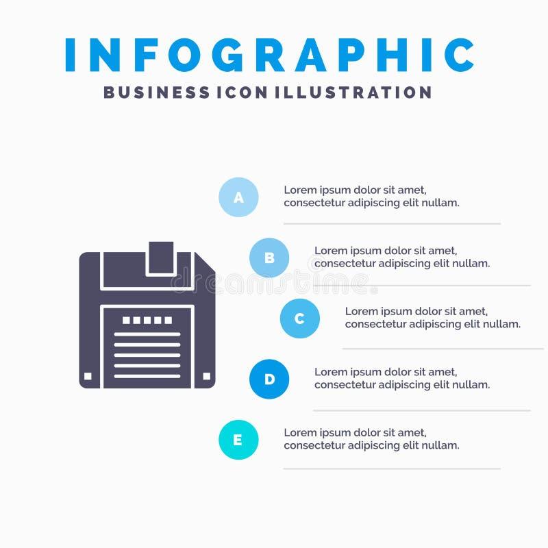 Floppy, Diskette, sparen Infographics-Presentatiemalplaatje 5 stappenpresentatie vector illustratie