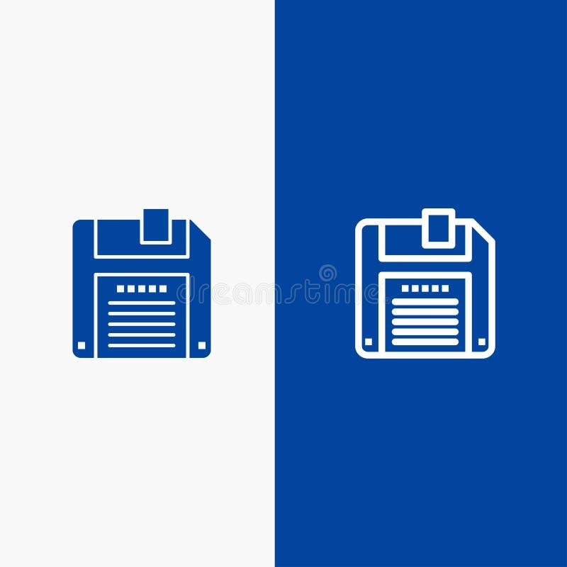 Floppy, Diskette, sparen Lijn en Stevige het pictogram Blauwe banner van Glyph royalty-vrije illustratie