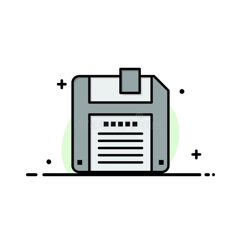 Floppy, Diskette, sparen Malplaatje van de Bedrijfs het Vlakke Lijn Gevulde Pictogram Vectorbanner royalty-vrije illustratie
