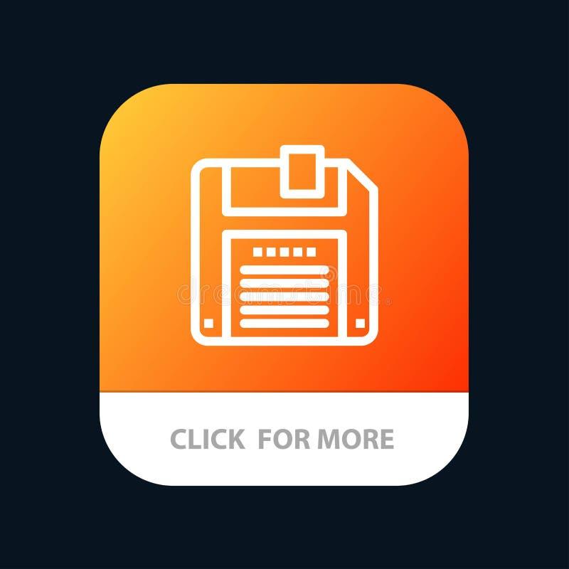 Floppy, Diskette, sparen Mobiele toepassingknoop Android en IOS Lijnversie royalty-vrije illustratie