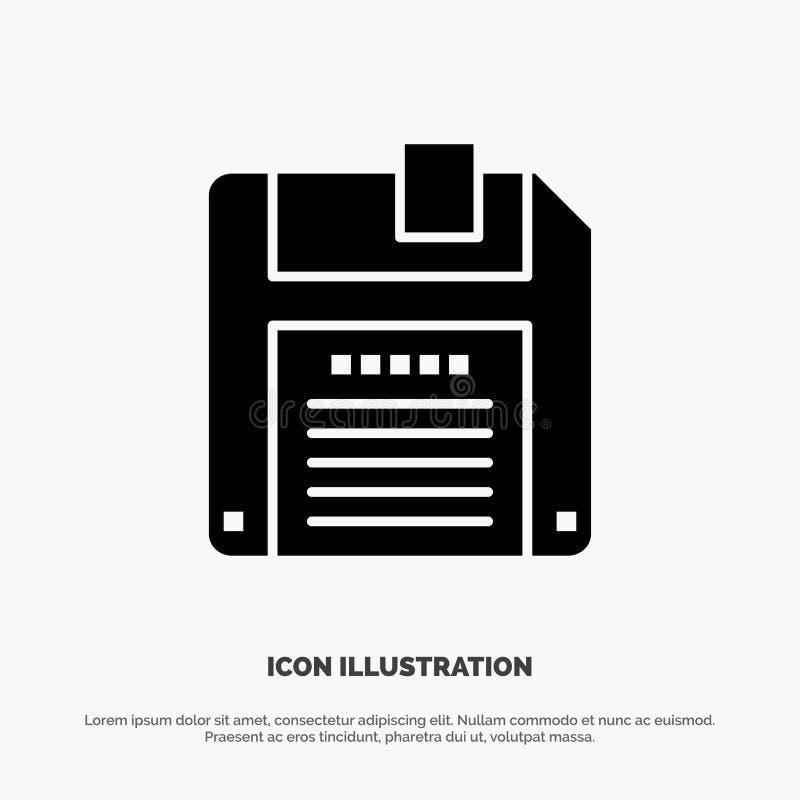 Floppy, Diskette, sparen Stevig Zwart Glyph-Pictogram vector illustratie