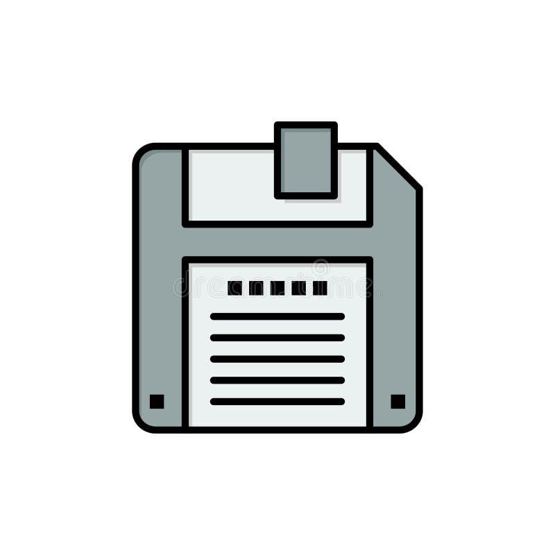 Floppy, Diskette, sparen Vlak Kleurenpictogram Het vectormalplaatje van de pictogrambanner royalty-vrije illustratie