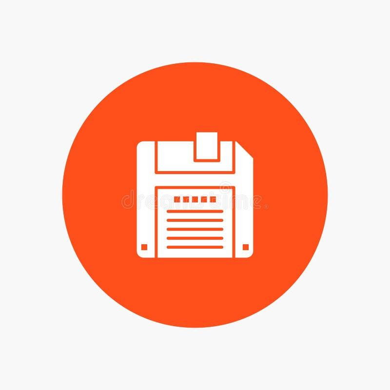 Floppy, Diskette, sparen wit glyphpictogram stock illustratie