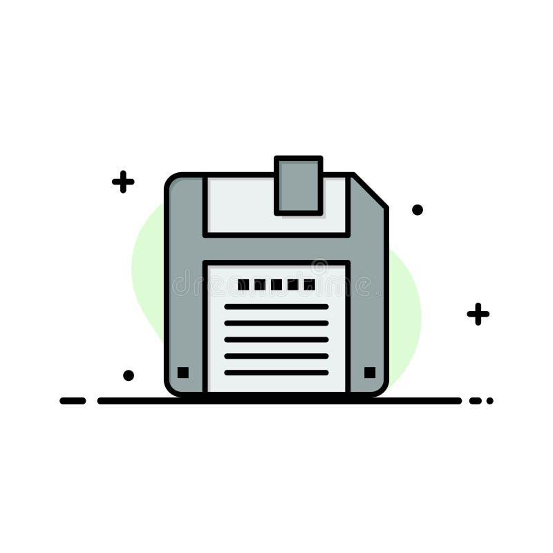Floppy, Diskette, sparen Zaken Logo Template vlakke kleur stock illustratie