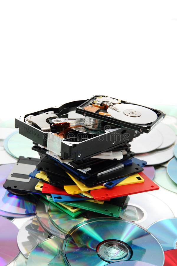 Floppydissc, dvd, CD-ROM, harddrive stockfotos